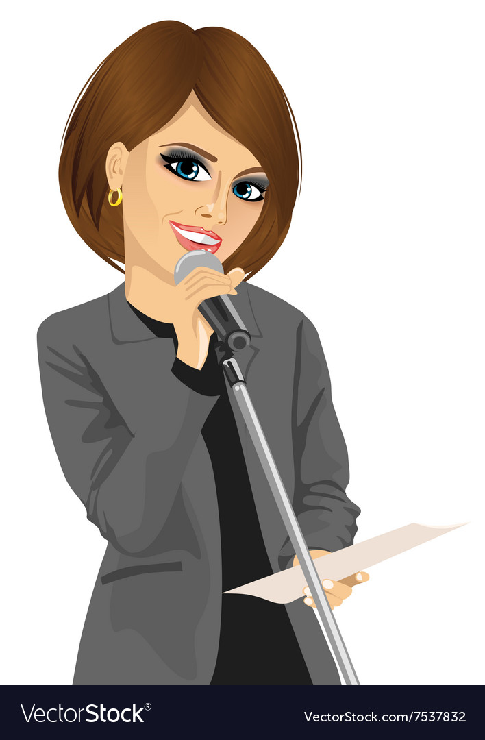 Woman speaking into a microphone vector image