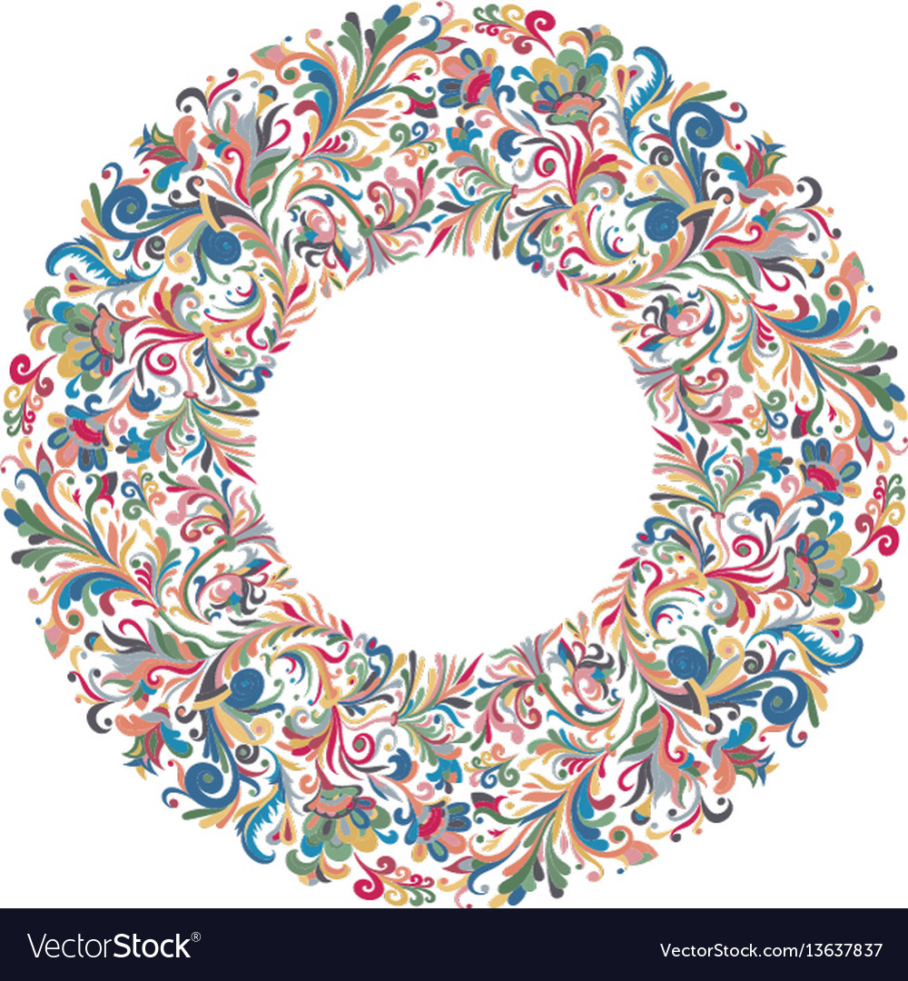 Circle frame wreath design made of doodle