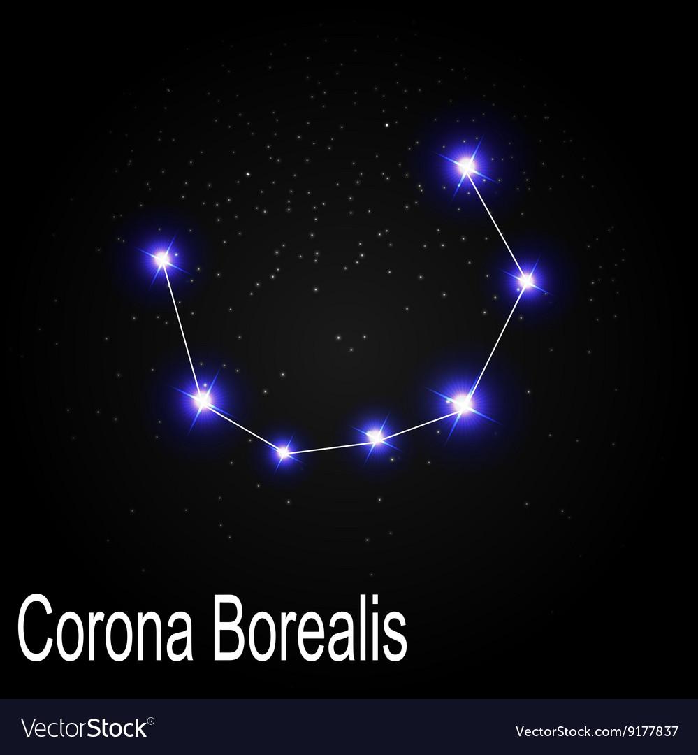 Corona Borealis Constellation With Beautiful Vector Image