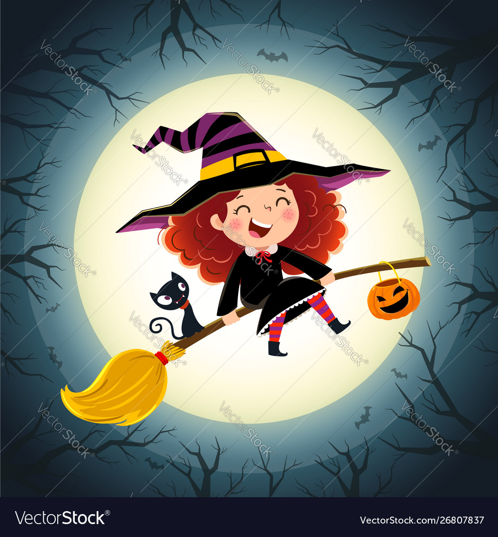 Halloween background with cute little girl witch