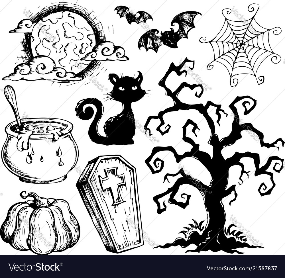 halloween drawings collection 2 royalty free vector image