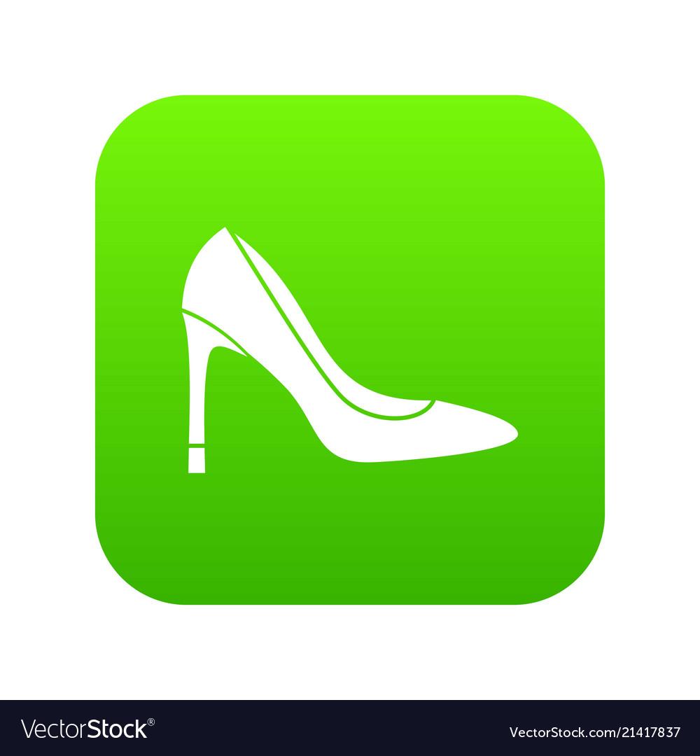 High heel shoe icon digital green