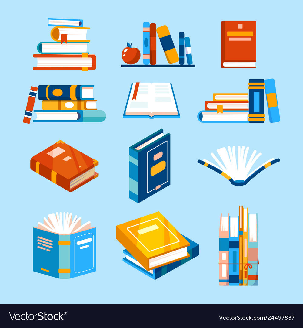 Isolated reading book icons opened book