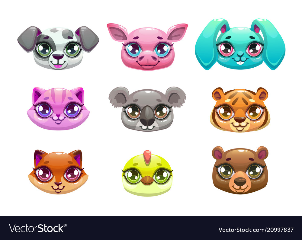 Little cute cartoon animal faces