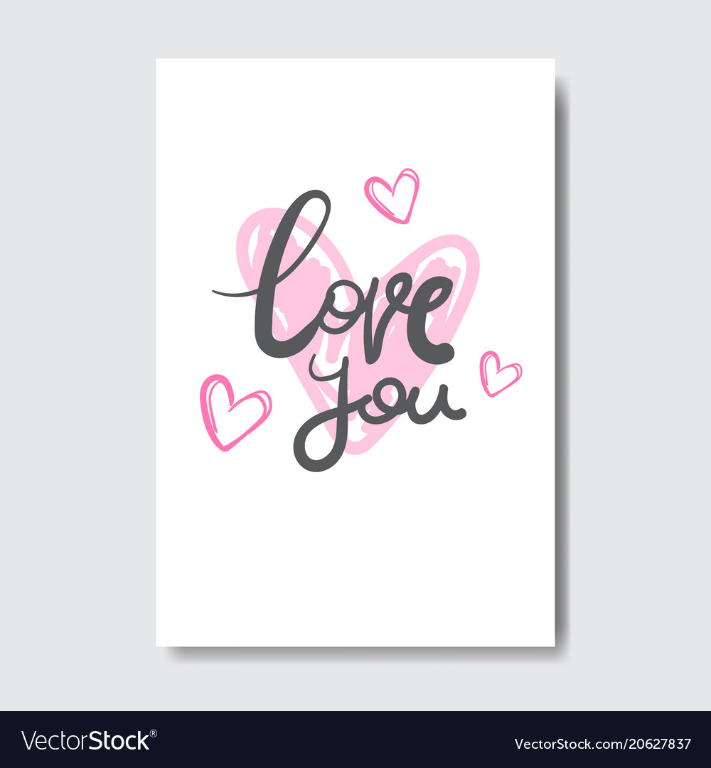 Love you greeting card with creative lettering