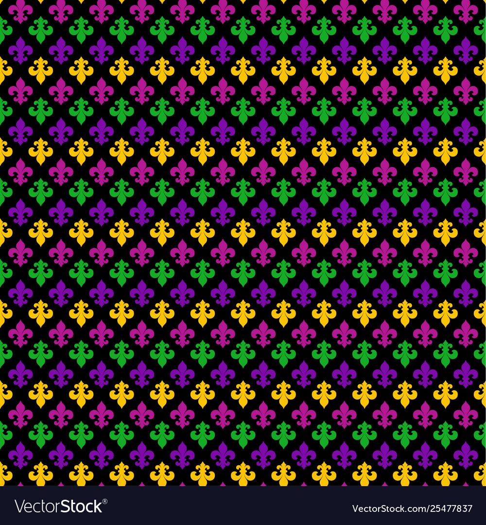 Mardi gras carnival seamless pattern with fleur-de