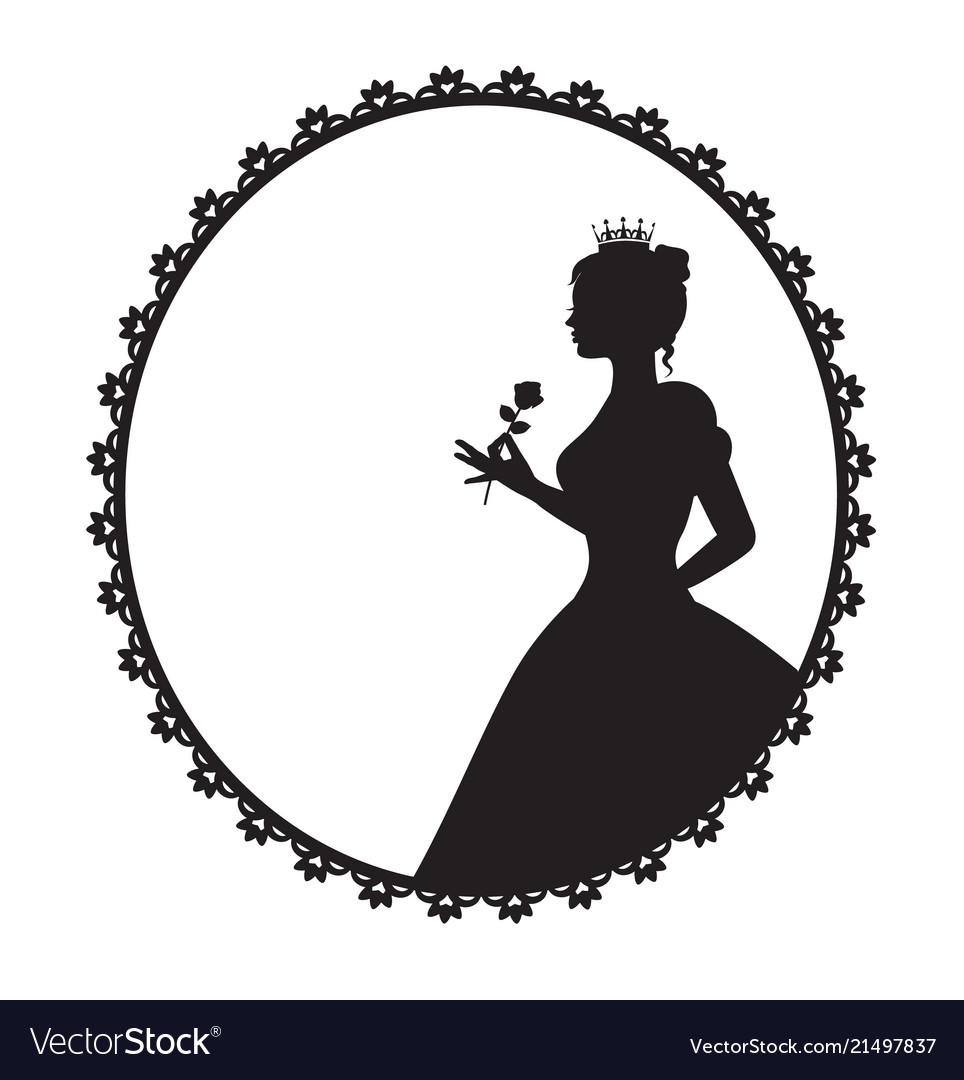 Princess in a magnificent dress holding a rose