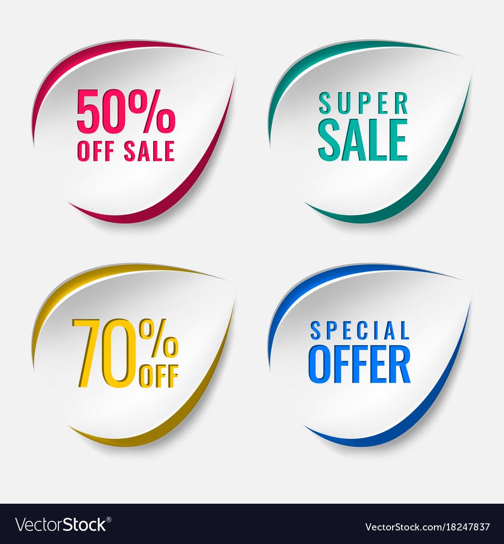 Realistic sale discount sticker icon label