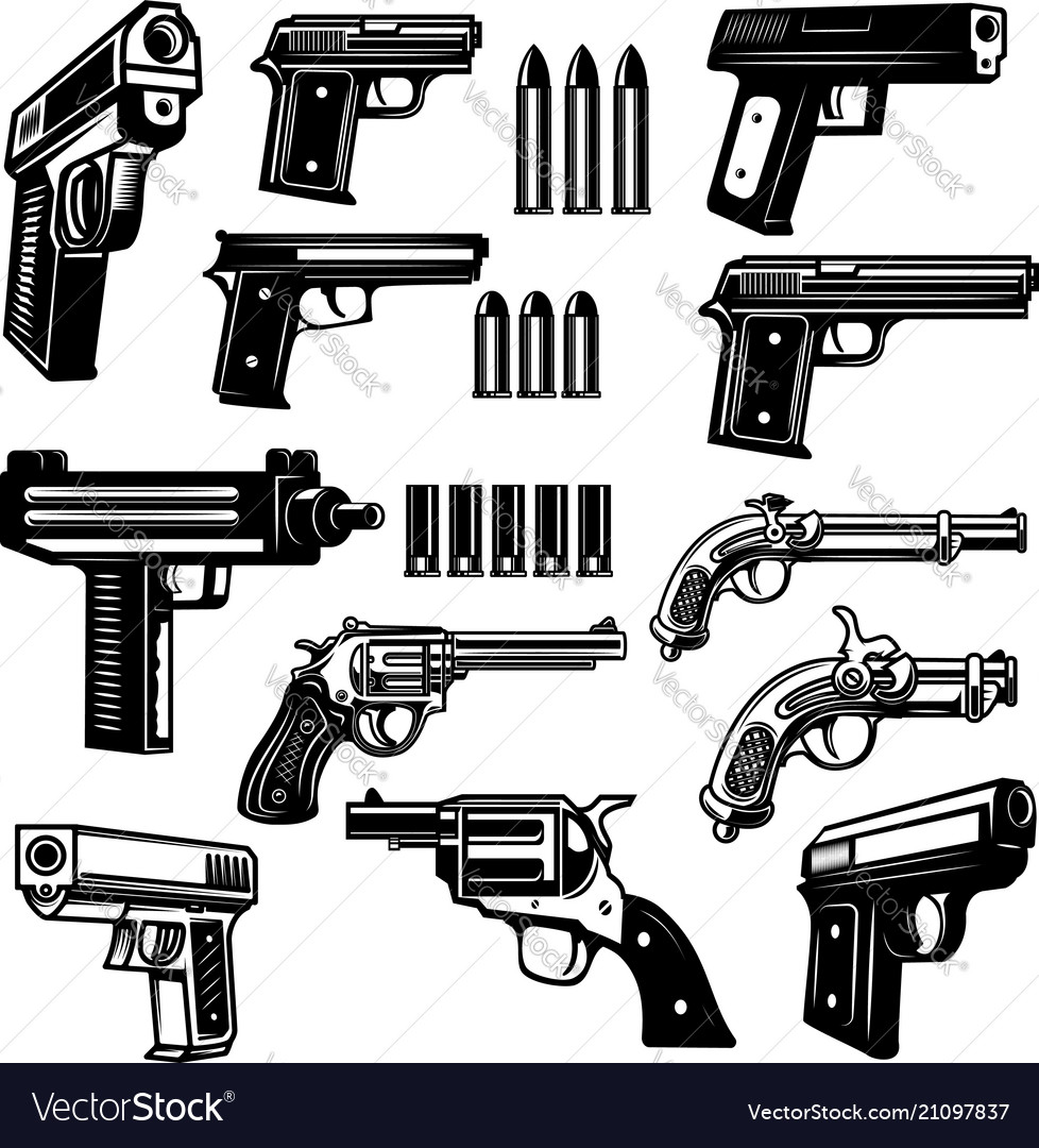 Set handgun revolver design elements for logo