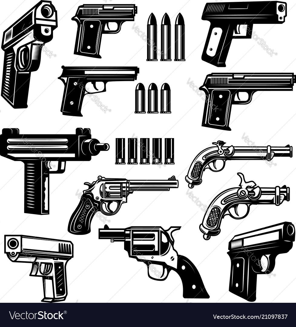 Set of handgun revolver design elements for logo