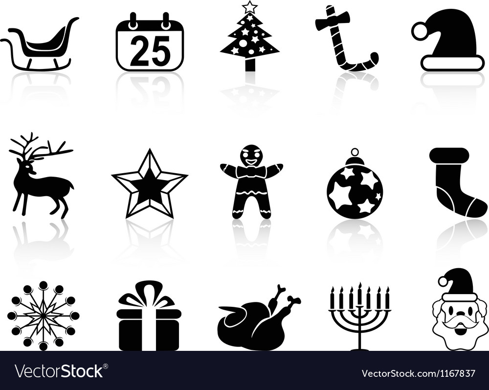 Simple black christmas icons set