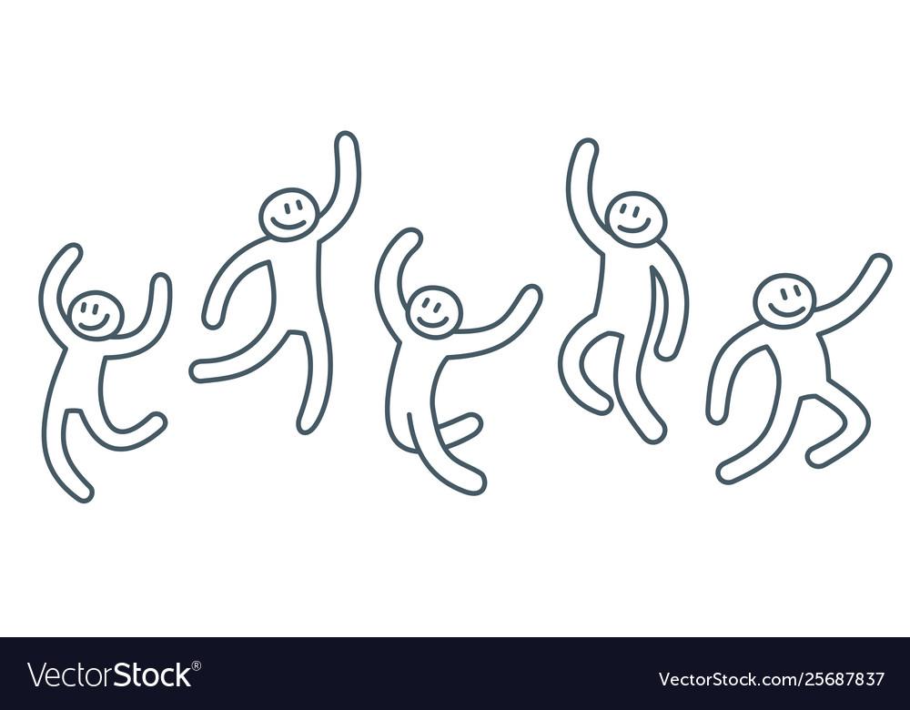 Sketch stickman people in human poses drawn