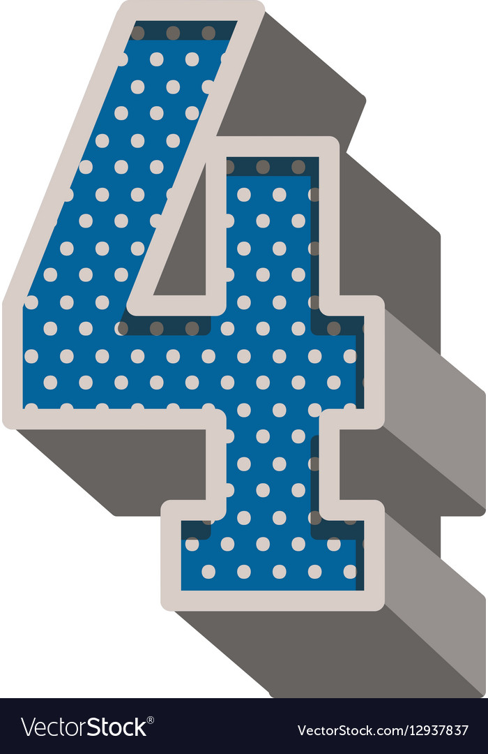 Three-dimensional number four dotted in blue color