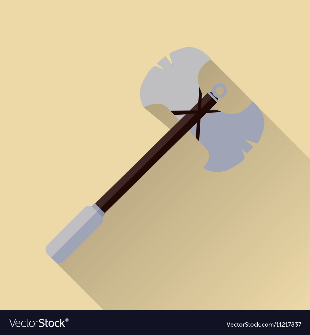 Two blade battle axe isolated Medieval Weapon vector image