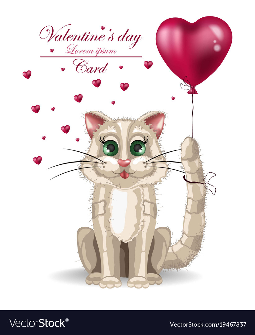 Valentine Day Cute Kitty Card Happy Royalty Free Vector