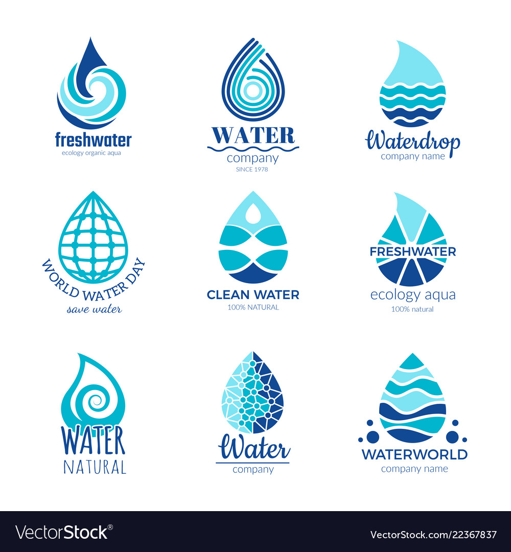Water logos aqua water drops and splashes
