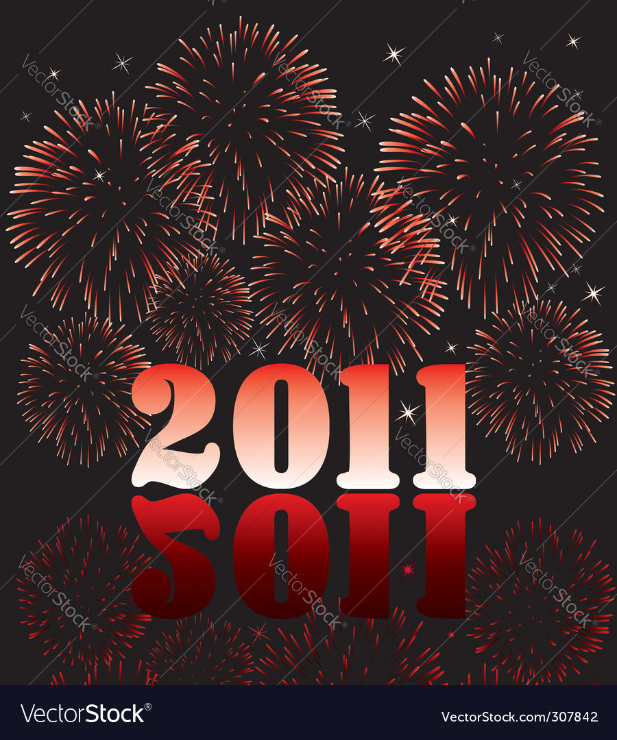 2011 numbers with fireworks vector image