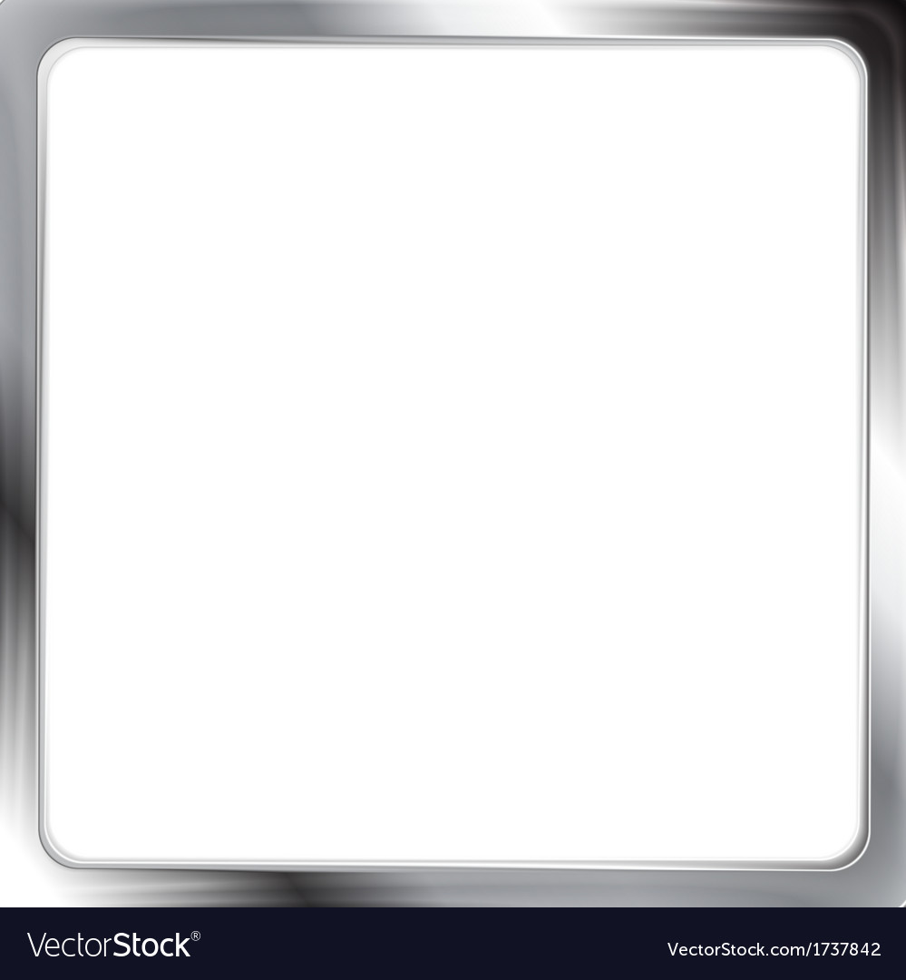 Abstract metallic silver frame vector image