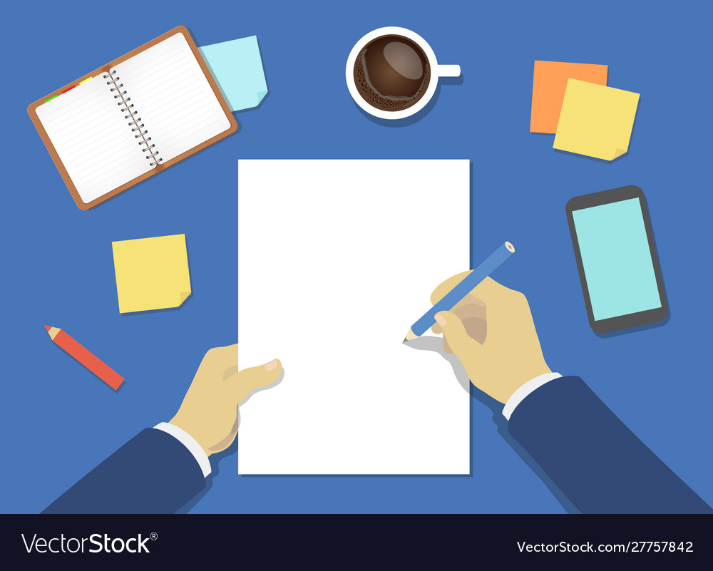 Businesman hands whriting on empty blank paper
