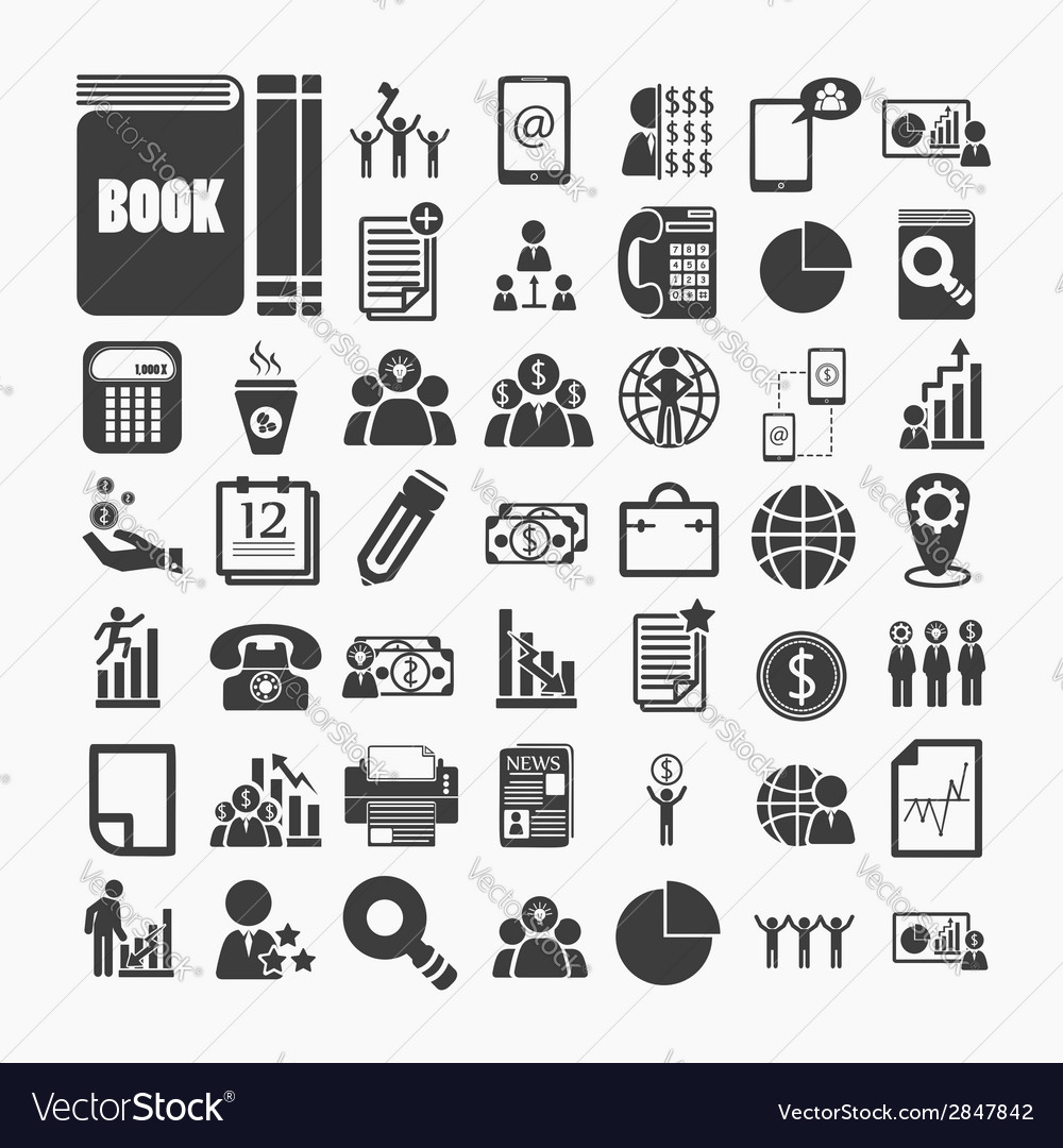 Business icons and Finance icons on White paper