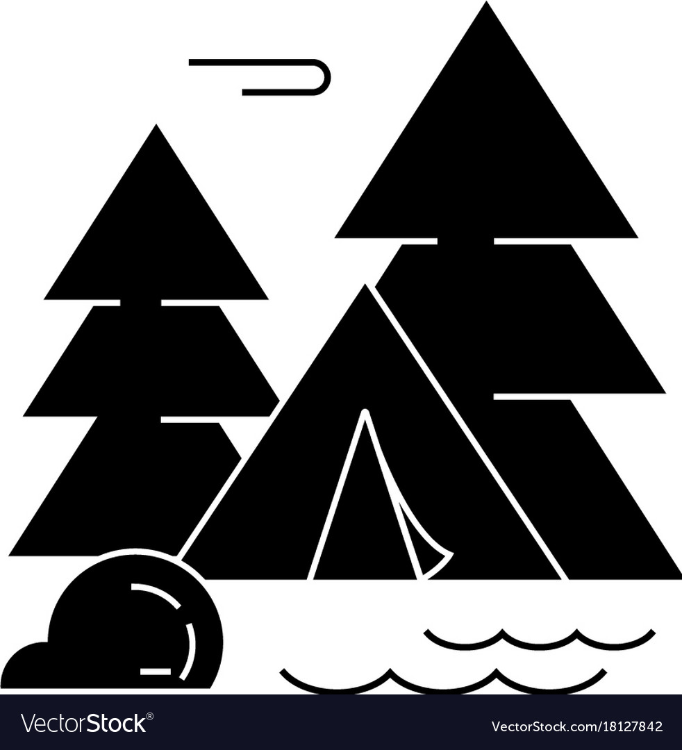 Camping tent forest icon