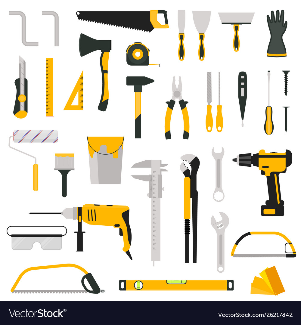 Cartoon color hand tool icon set