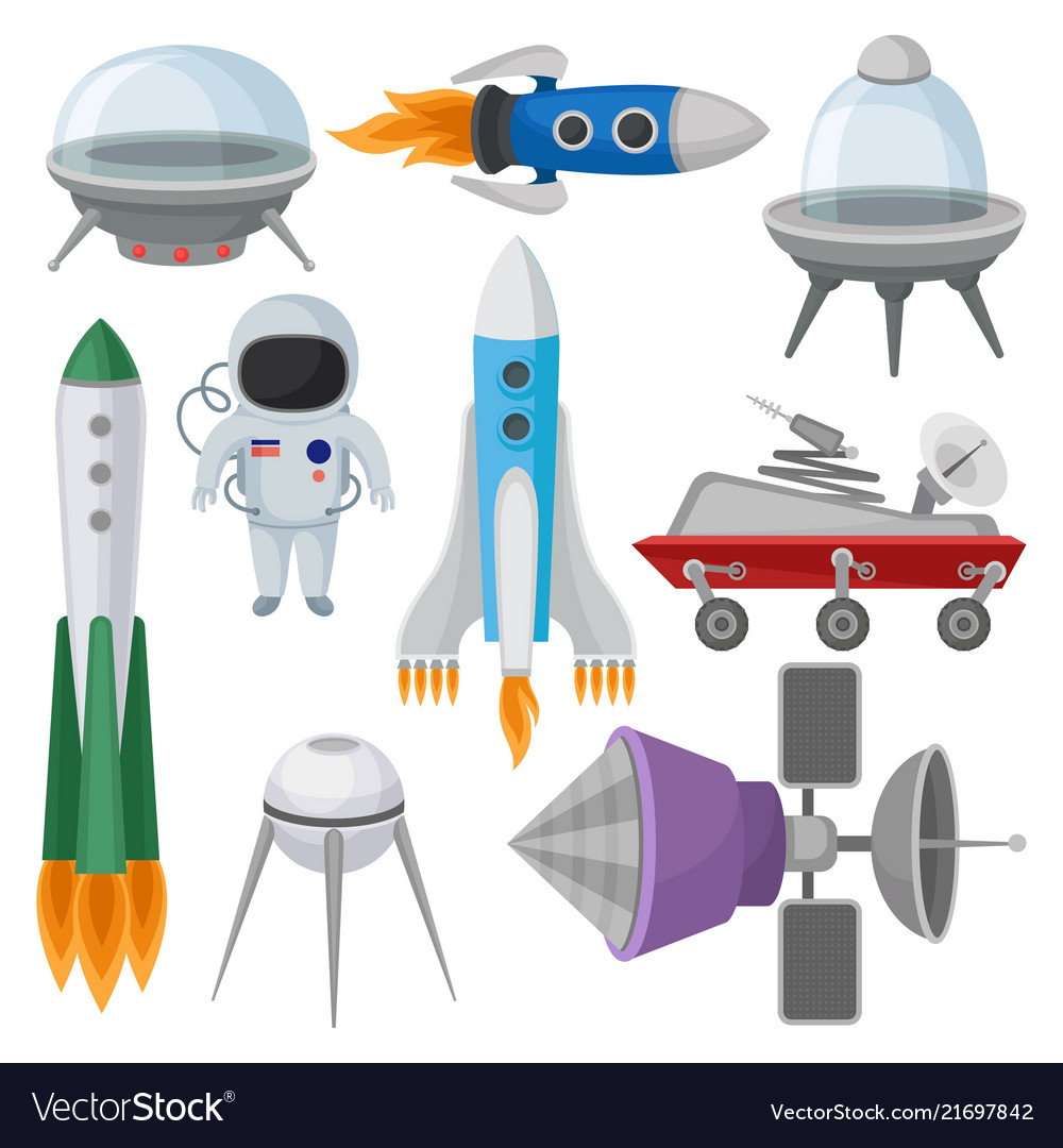 Flat set of icons related to space theme