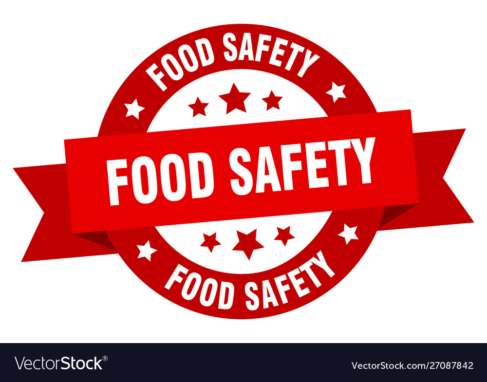 Food safety ribbon food safety round red sign