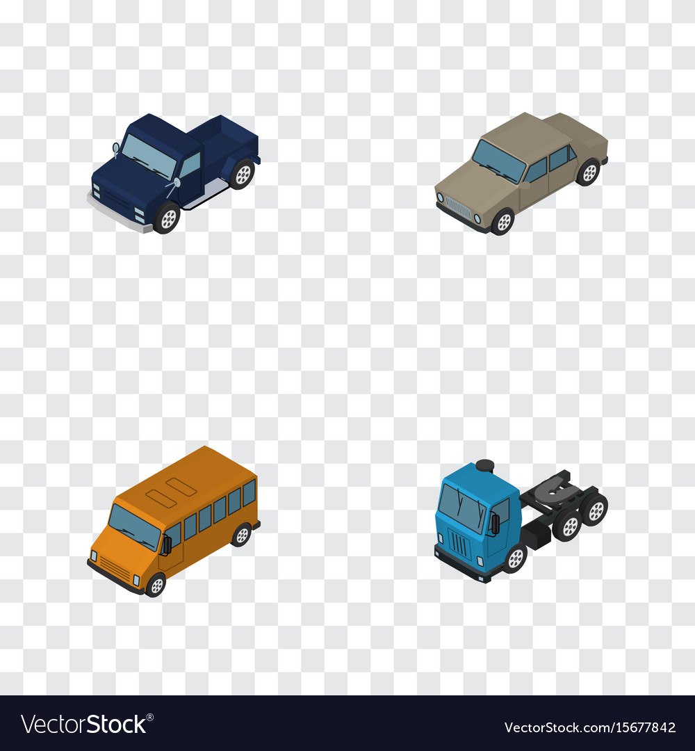 Isometric automobile set of suv auto truck and vector image