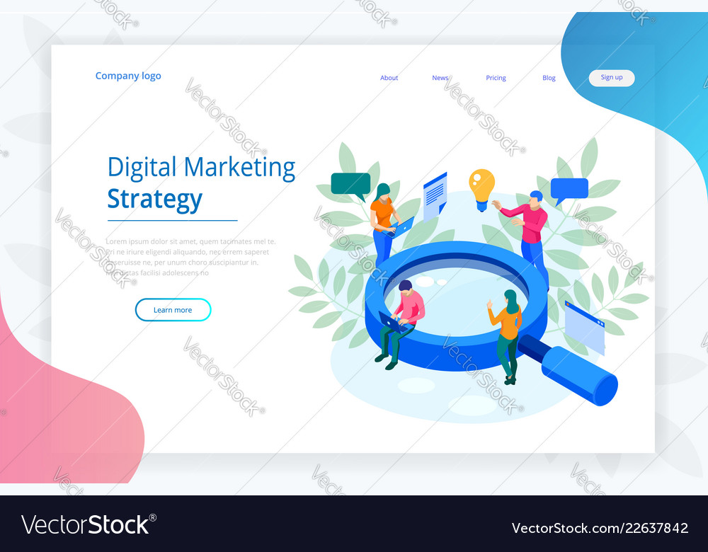 Isometric digital marketing strategy web banner