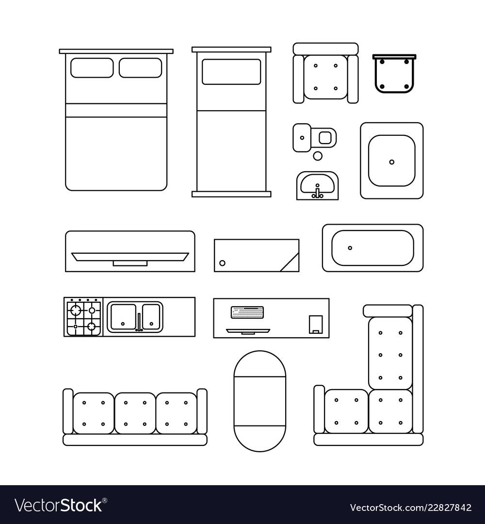 Large set of home furniture simple black outline