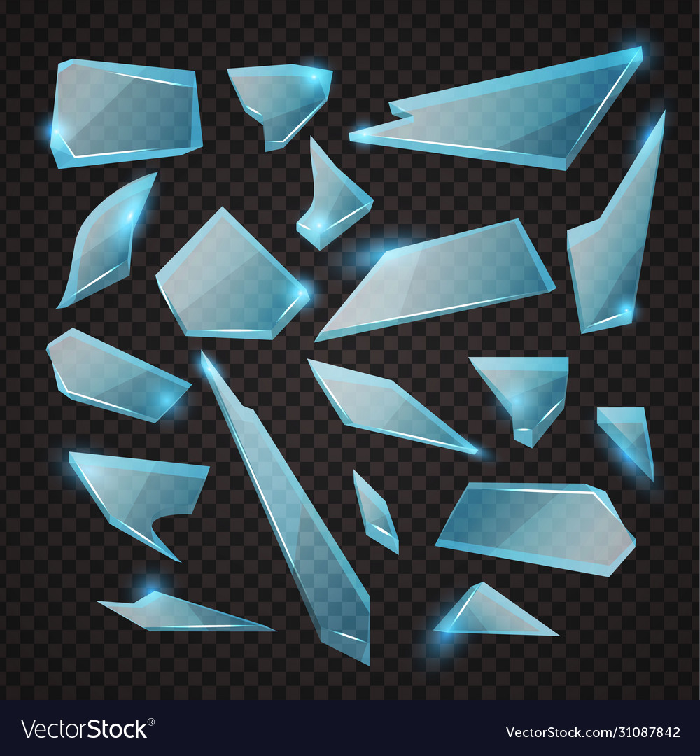 Realistic transparent shards broken glass blue