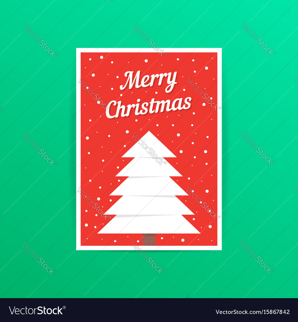 Red merry christmas card with snowfall vector image