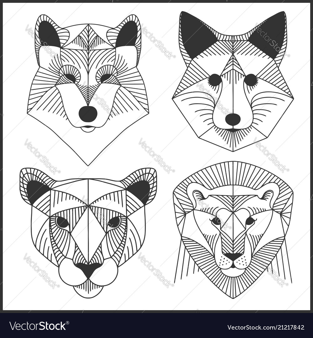 Set of polygonal animals polygonal logos