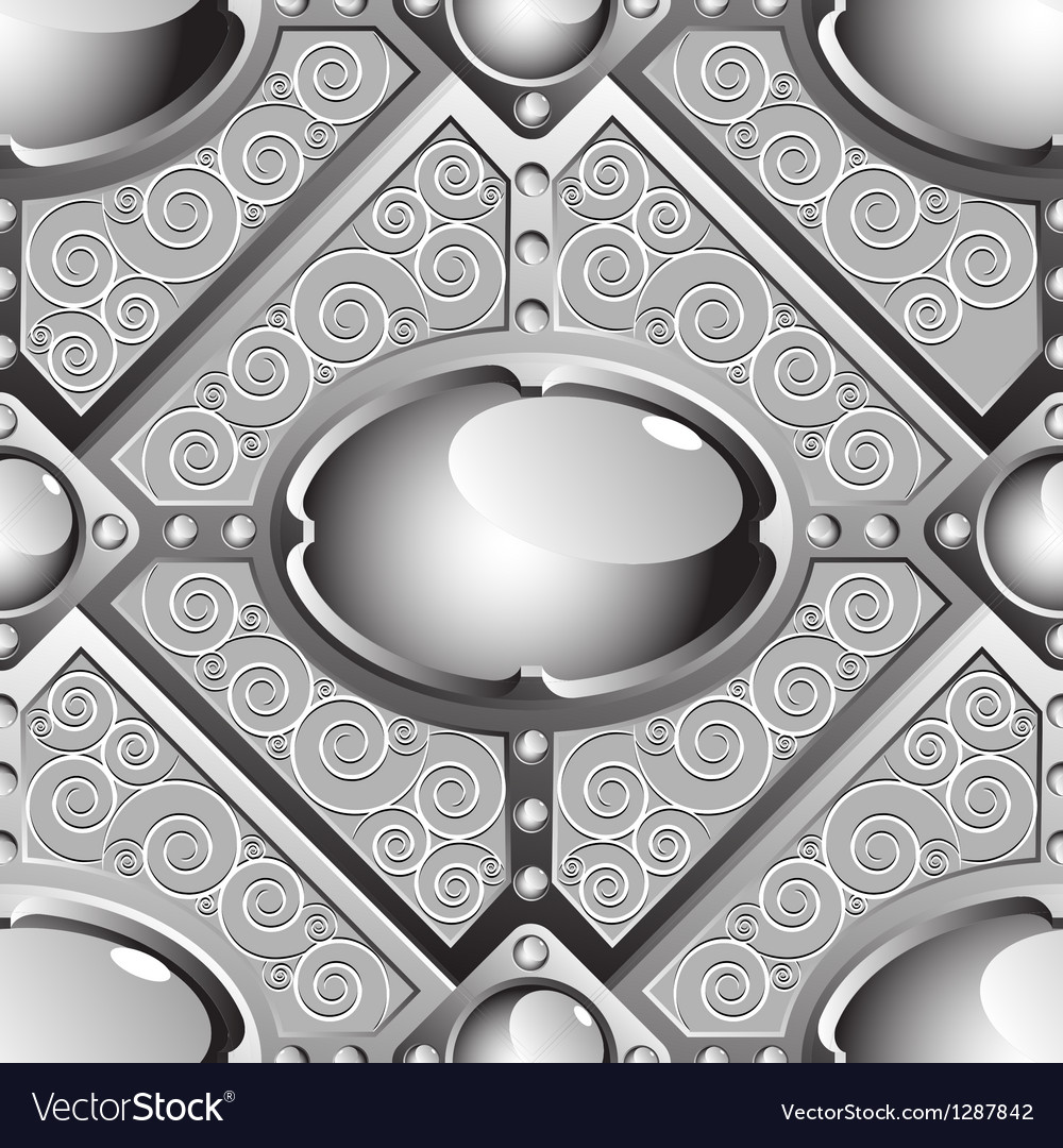 Silver emboss bar with grey glossy gems vector image