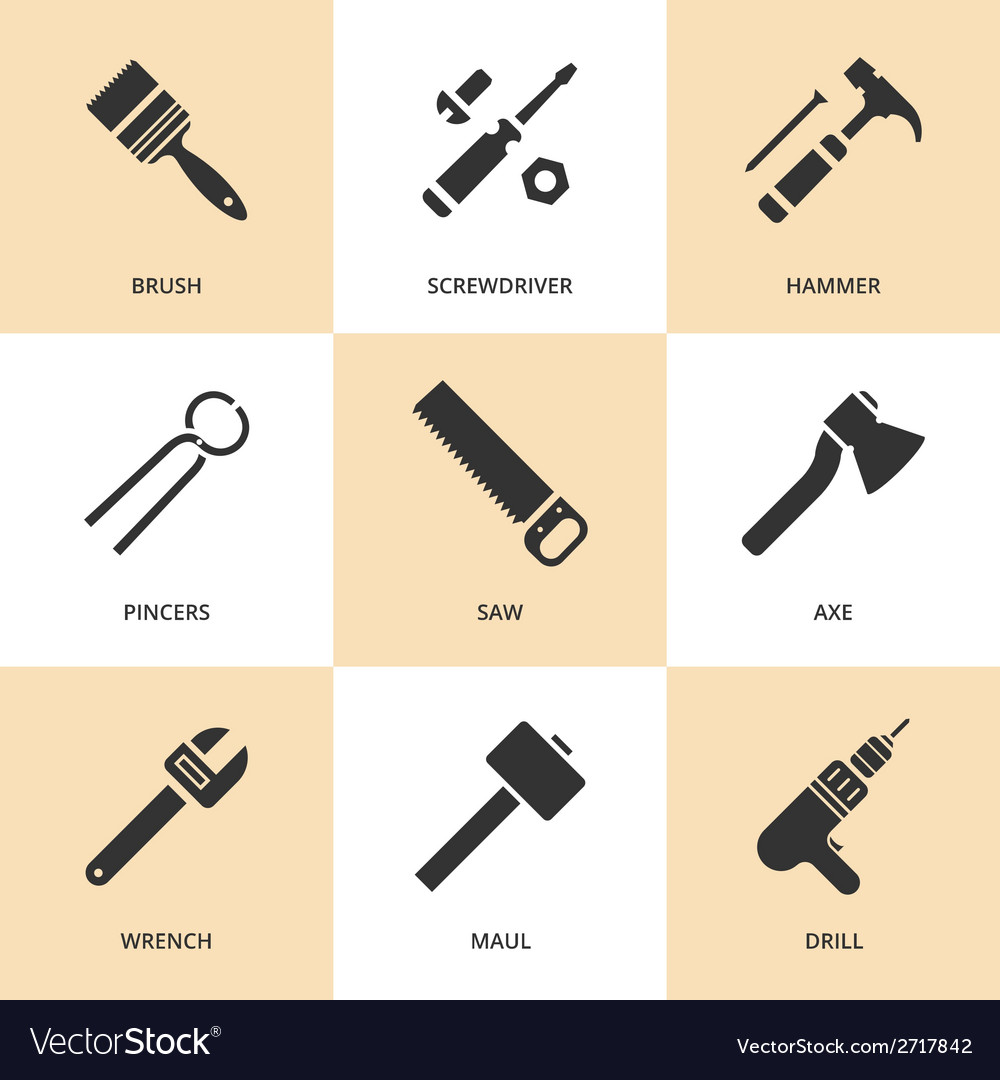 Trendy flat working tools icons