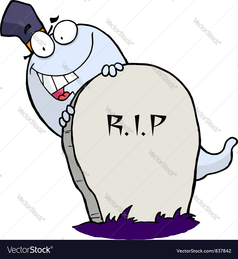 White halloween ghost looking around a tombstone vector