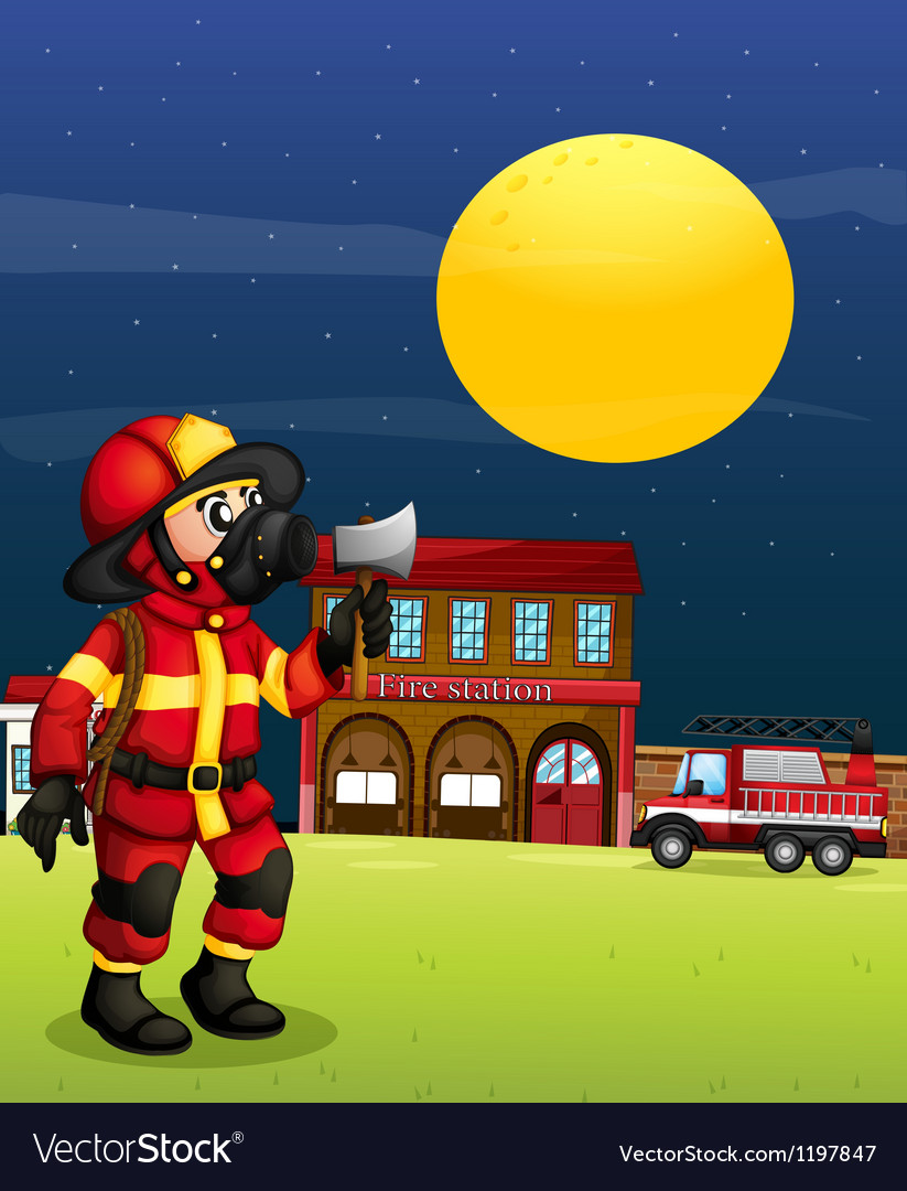 A fireman in the middle of the night vector image