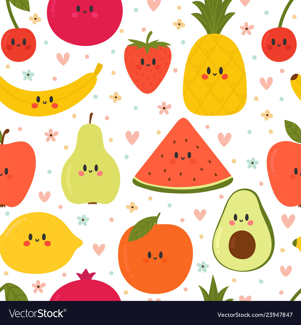 Cute seamless pattern with cartoon fruits