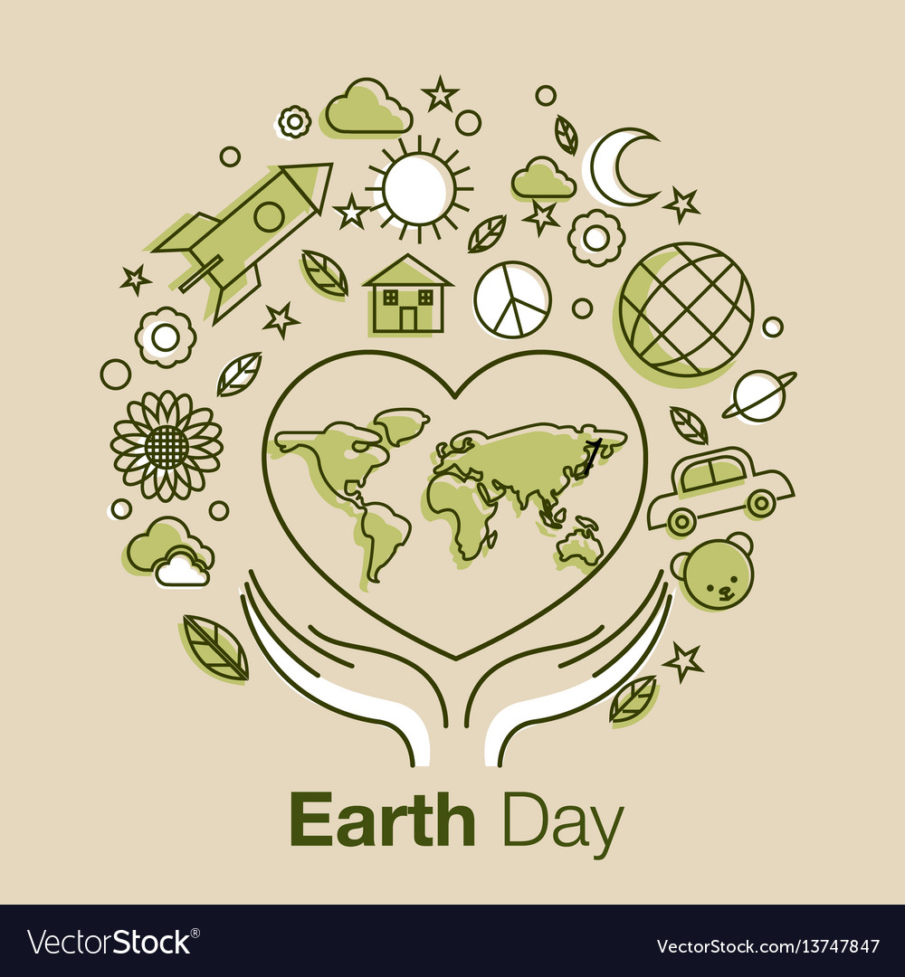 Earth day line art style logo icon