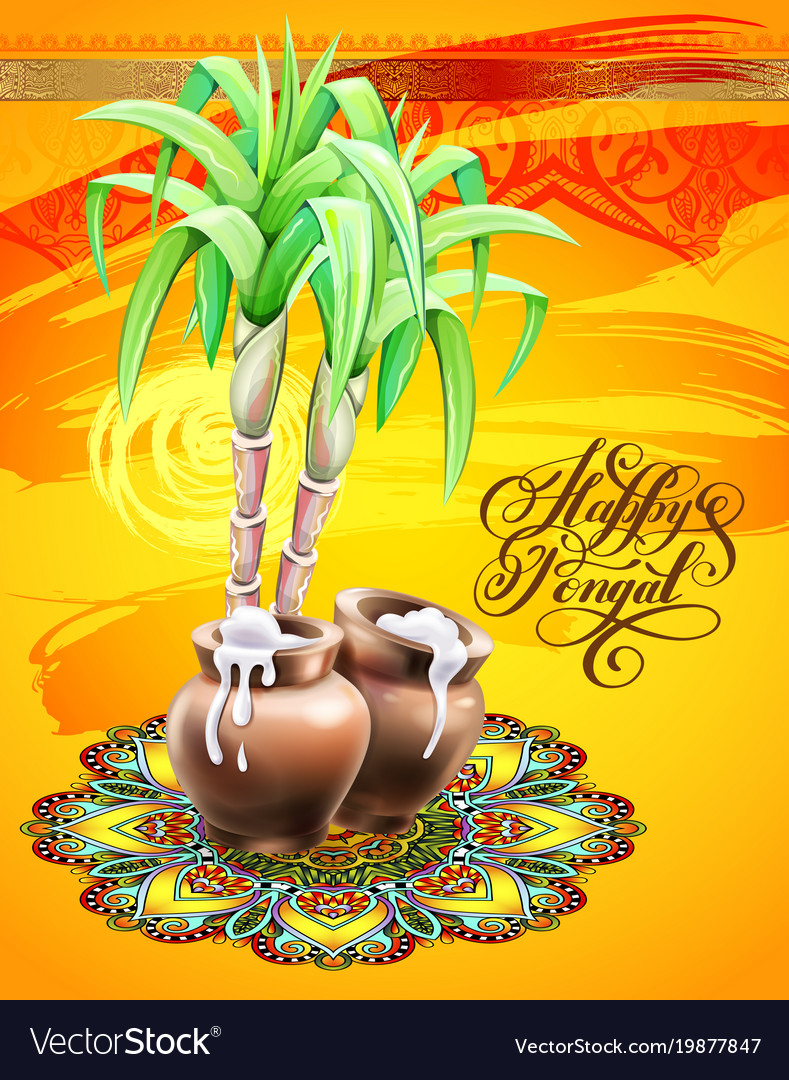 Happy pongal greeting card to south indian winter vector image m4hsunfo