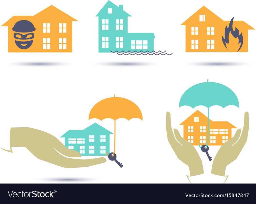 Insurance colorful icons set
