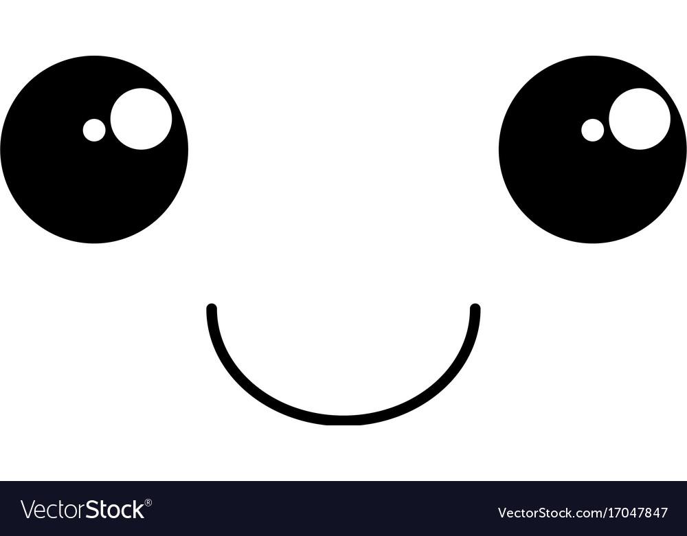 Kawaii Face Emoticon Character Royalty Free Vector Image