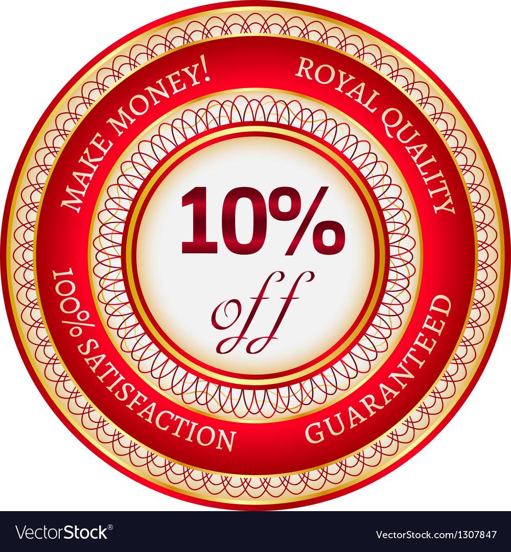 Label on 10 percent discount