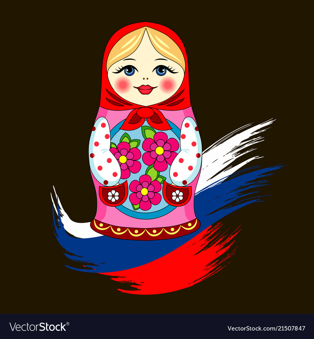 Matryoshka russian doll russia flag