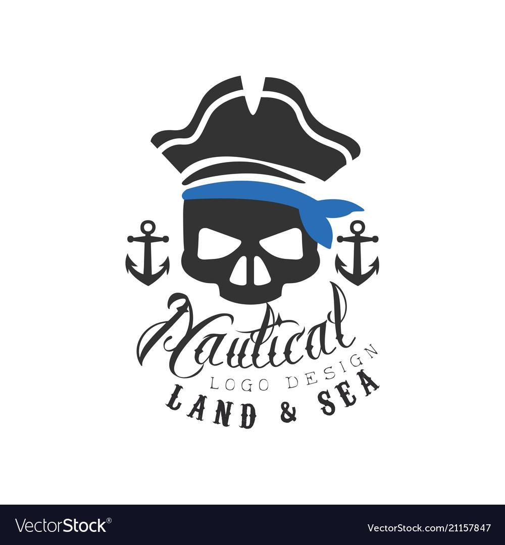 Nautical logo design land and sea retro emblem