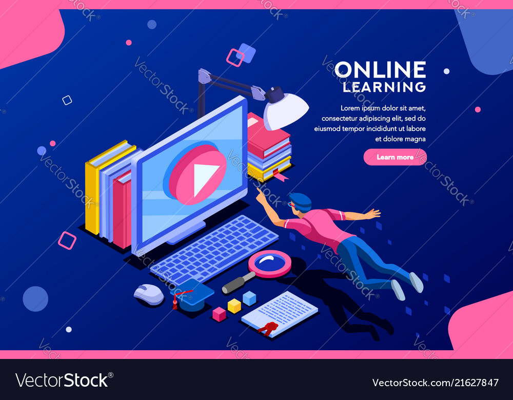 Online Tutorial Web Page Template Royalty Free Vector Image