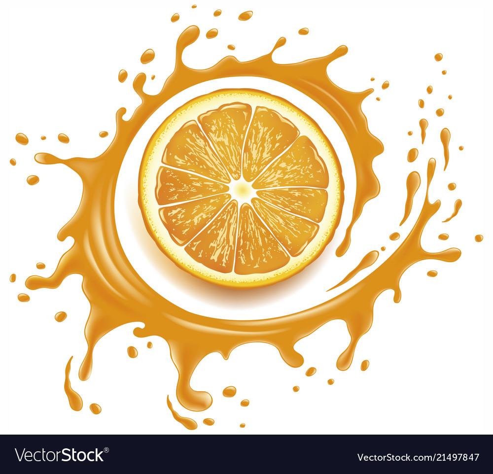 Orange juice splash with many drops