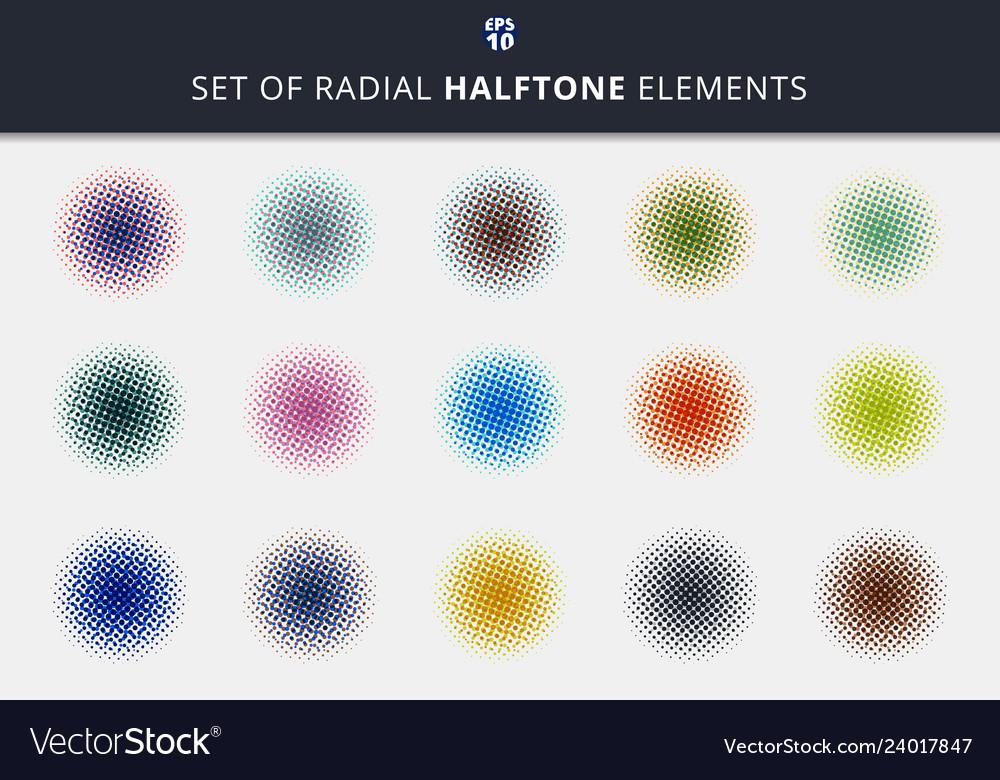Set abstract dots halftone circles radial