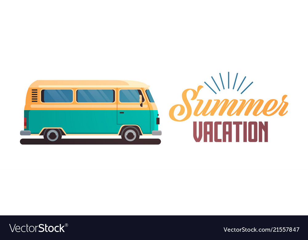 Summer vacation surf bus retro surfing vintage